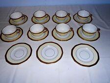"""Vtg Elegant Bavaria Princess China """"Belwood"""" Cups & Saucers (8 Sets) w/Gold Trim"""