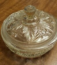 """Vintage Avon Covered Cut Glass Candy Dish, 6"""" Clear, with Lid"""
