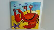 "Nautical Red Crab Purple Starfish 2010 Signed Oil Painting Ales Pancner ""Crab"""