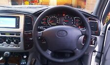 FITS TOYOTA HILUX 2005-2011 REAL BLACK ITALIAN LEATHER STEERING WHEEL COVER NEW