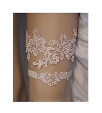 Champagne Lace Wedding Garter Set, Light Champagne Lace Bridal Garter Belt