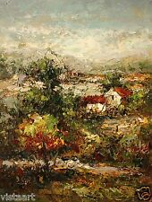 """High Quality Oil Painting on Stretched Canvas 12""""x16"""" - Abstract Village"""
