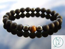 Elegant Yellow Tigers Eye Natural Gemstone Men Bracelet Elasticated 7-8''