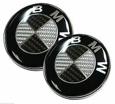 NEW 82mm+82mm Real Carbon Fiber Black/Silver BMW Hood/Trunk Emblems Badges
