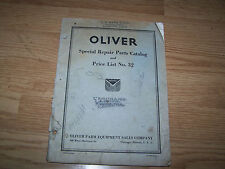 OLIVER SPECIAL REPAIR PARTS CATALOG AND PRICE LIST NO.32