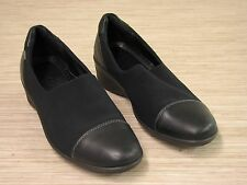 Ecco Black Fabric & Leather Loafers Women's Size US 8.5 EUR 39 Gore-Tex Shoes