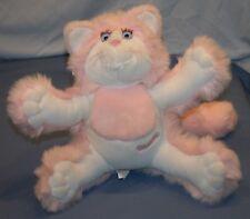 """Fisher Price Purr Tenders Plush Pink White Cat Kitten Purring Vtg 15"""" Stuffed"""