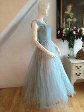 VINTAGE 50s CHANTILLY LACE & TULE NET BLUE & PINK DRESS GOWN PROM RETRO WEDDING