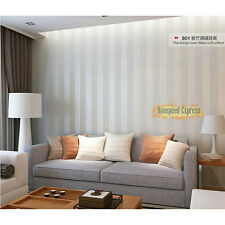 10m Roll Non-woven Stripe Flocking Surface Wallpaper TV Background Wall Paper
