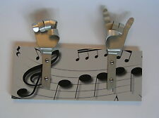 METAL DANDIE HANDS WITH MUSIC Musician treble clef Bag Coat hook hanging Rack