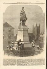 #01-0299 11/1/1862 ANTIQUE PRINT (TRAINS) - MONUMENT TO GEORGE STEPHENSON