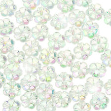 Acrylique fleur forme poney perles 10mm transparent clear ab-pack de 50 (F107/2)
