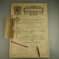 Original Patenturkunde Waffen Gewehrpflege Oberhessen 1909 (41465)