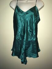 NEW VICTORIA'S SECRET SUMMER BABYDOLLS L LARGE 2 PIECE SOLID GREEN 100% SILK