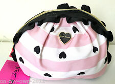 Betsey Johnson Mini Ruffle Cosmetic Bag Clutch Make up Case Stripe Pink Hearts