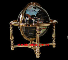 "13"" Black Onyx ocean Gold 4- leg table stand Gem MOP Gemstone World MAP globe"