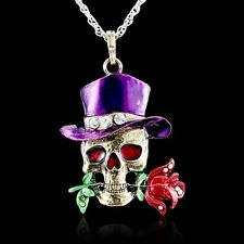 2015 Retro Silver Jewelry Necklace Pendant Skull Flower Crystal Sweater Chain