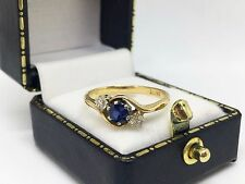 LOVELY 18ct Yellow Gold Art Deco Sapphire 0.25ct & Diamond Trilogy Ring SIZE K