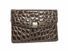 Vintage Unused GianFranco Ferre Leather Crocodile Embossed Clutch