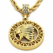 "Mens 14K Gold Plated Round American Pendant Hip-Hop 4mm/24"" Rope Chain"