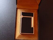 S T Dupont Line 2 Large Lighter Black Chinese Lacquer with Rose Gold Trim-Boxed
