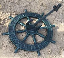 GREEN CAST IRON SUNDIAL in the Shape of a Ships Wheel with Anchor Home Garden
