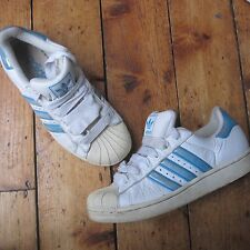 Adidas Superstar Women's Trainers White Leather w Sky Blue UK Size 5 Vintage 01