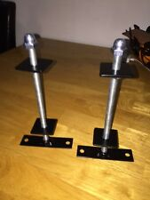 2x  cast iron radiator wall stays brackets powder coated black,