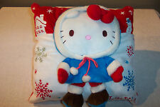 "HELLO KITTY Winter Holiday Pillow Plush 14"" Square 3 Dimensional - Very Cute!"