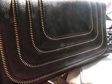 Urban Expressions Black Clutch w/ Gold Zipper Design Small