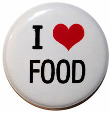 """1"""" (25mm) ' I LOVE FOOD ' Button Badge PIn - High Quality"""