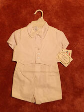 NOS NWT Vtg 90s Adorable VESTED BOW TIE CHRISTENING ROMPER w/ HAT 18 Mo Boys NEW