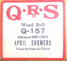 """QRS Word Roll """"APRIL SHOWERS"""" Q-157 ARDEN & OHMAN Hand Played Player Piano Roll"""