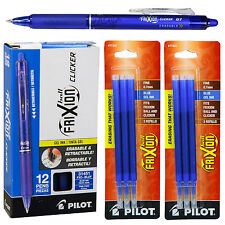 Pilot FriXion Clicker Erasable Blue Gel Ink Pens, 12 Pens With 2 Pk of Refills