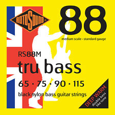 ROTOSOUND RS88M BLACK NYLON BASS STRINGS, MEDIUM SCALE, STANDARD 4's - - 65-115