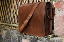 "15"" New Genuine Vintage Leather Messenger Shoulder Laptop Bag Satchel For Men's"