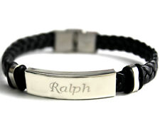 RALPH - Bracelet With Name - Leather Braided Engraved - Gifts For Him