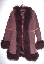 GORGEOUS NEW WINTER SOLID BROWN, LEATHER LAMB ONLY OUTWEAR COAT SIZE S-M