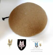 BRITISH ARMY SAS BERET & 2 CAP & 1 ENTITLED BADGE