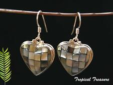 BALI Abalone Heart Mosaic Earring Set  - 925 SOLID Sterling Silver #6386