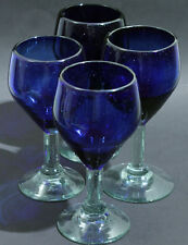 Vintage blue wine cobalt glass goblet goblets Mexico water clear glasses blown