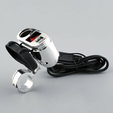 12V Motorcycle Charger Adapter Set W/ Dual USB Cigarette Lighter Outlet Socket