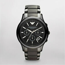 New Emporio Armani Ceramica AR1452 Men's Watches Black Dial 100% Authentic
