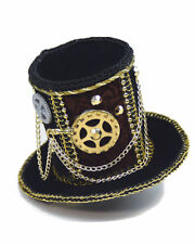 Steampunk Mini Top Hat Black Gold Brown Gears Chains Women's Costume Accessory