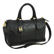 Auth CHANEL Quilted CC Logos 2way Boston Hand Bag Black Leather Vintage S05870