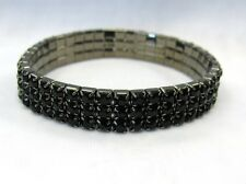 Black Rhinestone Crystal Stretch Bracelet 3 Row  Wedding Prom Pageant Dance # 46