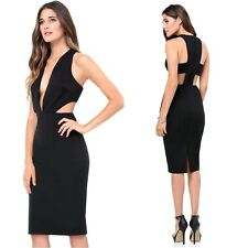 $140 NWT bebe black deep v neck side cutout plunge midi top dress XS 0 2 club