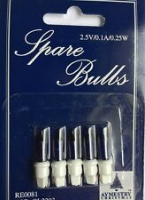 5 Pack Ink Blue Push In Spare Bulbs for Christmas Tree Lights (2.5V/0.1A/0.25W)