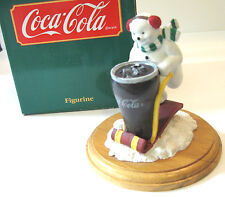 COCA COLA Snowman & Sled Figurine Wood Base Willitts 1991 Coke Advertisement NOS
