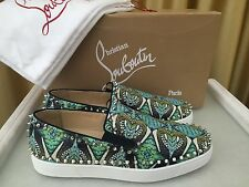 NEW CHRISTIAN LOUBOUTIN Pik Boat Flat Python Inferno GG Spikes Shoe Slip-on EU43